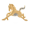 Polished Gold Tone Clear Crystal Horse Brooch - 40mm W