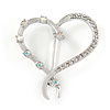 Rhodium Plated Clear/ Ab Crystal Open Asymmetrical Heart Brooch - 30mm L