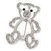 Open Crystal Teddy Bear Brooch In Rhodium Plated Metal - 35mm L