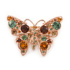Crystal Butterfly Brooch In Rose Gold Tone Metal (Amber, Orange, Green, Citrine) - 43mm W