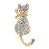 Small Two Tone Crystal Cat Brooch (Gold/ Silver Tone Metal) - 32mm L