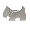 Cute Crystal Little Doggy Brooch In Satin Metal Finish - 30mm