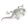 Small Crystal Lizard Brooch In Rhodium Plated Metal - 45mm L