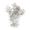 Small Funky Crystal Frog Brooch In Rhodium Plated Metal - 35mm L