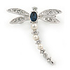 Small Clear Crystal, Blue CZ, White Faux Pearl Dragonfly Brooch In Rhodium Plating - 35mm L