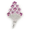 Bouquet of Pink Enamel, Crystal Violet Flowers Brooch In Rhodium Plated Metal - 60mm L