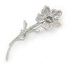 Rhodium Plated Clear Crystal Daisy Flower Brooch - 45mm L