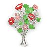 Fancy Bouquet of Field Flowers Brooch In Rhodium Plated Metal (Pink/ Light Green) - 50mm L