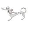Stylish Badger-Dog Brooch In Polished Rhodium Plated Metal - 45mm L