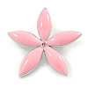Baby Pink Enamel Daisy Flower Brooch In Rhodium Plated Metal - 44mm D
