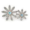 Rhodium Plated Clear/ Ab Crystal Double Flower Brooch - 40mm W