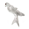 Small Crystal Pigeon Bird Brooch In Rhodium Plated Alloy - 35mm L