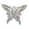 Rhodium Plated Glitter Butterfly Brooch - 43mm W