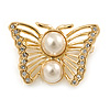 Small Gold Plated Crystal, Faux Pearl Butterfly Brooch - 30mm L