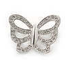Small Rhodium Plated Crystal Butterfly Pin Brooch - 25mm