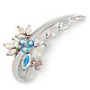 Fancy AB/ Light Blue Crystal Brooch In Rhodium Plating - 55mm L