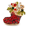 Crystal Christmas Stocking Brooch In Gold Plated Metal - 40mm L