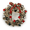 Vintage Inspired Red/ Green/ Clear Crystal Christmas Holly Wreath Brooch In Antique Gold Tone - 42mm D