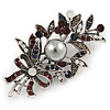 Vintage Inspired Crystal Floral Brooch In Silver Tone Metal - 60mm L