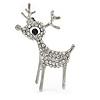 Clear Crystal Christmas Reindeer Brooch In Silver Tone Metal - 40mm