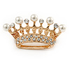 Clear Crystal Faux Pearl Crown Brooch In Gold Tone Metal - 45mm