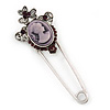 Crystal Purple Cameo Safety Pin Brooch In Silver Tone - 70mm L