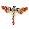 Vintage Inspired Amber/ Grey Crystal Dragonfly Brooch/ Pendant In Antique Gold Tone - 75mm