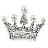 Clear Crystal Faux Pearl Crown Brooch In Silver Tone Metal - 40mm