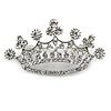 Clear Crystal Crown Brooch In Silver Tone Metal - 50mm W