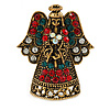 Crystal Beautiful Guardian Angel Brooch Pin In Aged Gold Tone Xmas Christmas - 32mm L