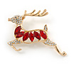 Clear/ Red Crystal Christmas Reindeer Brooch In Gold Plating - 45mm
