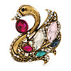 Vintage Inspired Multicoloured Swan Brooch in Aged Gold Tone Metal - 45mm L