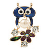 Funky Blue Crystal Enamel Owl Brooch In Gold Tone Metal - 45mm L