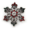 Small Vintage Inspired Red/ Green/ Clear Crystal Christmas Snowflake Brooch In Aged Silver Tone Metal - 35mm D