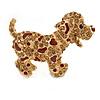 Happy Dalmatian Puppy Dog Brooch In Gold Tone Metal - 55mm