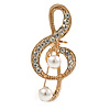 Small Crystal, Faux Pearl Treble Clef Musical Brooch In Gold Tone - 35mm L