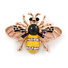Small Yellow/ Black/ Natural Enamel Crysal Bee Brooch In Rose Gold Tone - 35mm W