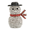 Christmas Crystal 'Snowman' Brooch In Rhodium Plating - 45mm L