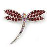 Classic Burgundy Red Crystal Dragonfly Brooch In Rhodium Plating - 60mm W