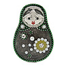 Quirky Green/ Grey Faux Pearl Bead Matryoshka/ Nested Russian doll Brooch/ Pendant In Silver Tone Tone - 40mm L