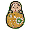 Quirky Green/ Yellow Faux Pearl Bead Matryoshka/ Nested Russian doll Brooch/ Pendant In Rose Gold Tone - 40mm L