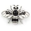 Small White/ Black Enamel Crysal Bee Brooch In Silver Tone - 35mm W