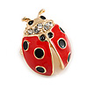 Small Red/ Black Ladybug Brooch In Gold Plated Metal - 20mm Tall