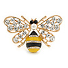 Crystal Yellow/ Black Enamel Bee Brooch In Gold Tone - 55mm Wide