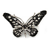 Small Black/ Milky White/ Clear Crystal Butterfly Brooch In Silver Tone - 40mm Across
