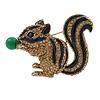 Light Topaz Crystal Black Enamel Squirrel Brooch In Antique Gold Tone Metal - 50mm Across