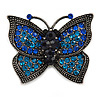 Vintage Inspired Blue/ Teal Butterfly Brooch In Pewter Tone Metal - 40mm Across