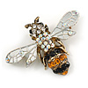 Vintage Inspired Crystal Bee Brooch/ Pendant in Antique Gold Tone - 45mm Across