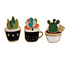 3 Pcs Funky Enamel Cactus, Grass, Aloe Vera Potted Plant Brooch Set for Clothes/ Bags/ Backpacks/ Jackets - 30mm Tall
