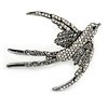 Black/ Clear Crystal Swallow/ Swift Bird Brooch In Silver Tone Metal - 68mm Across